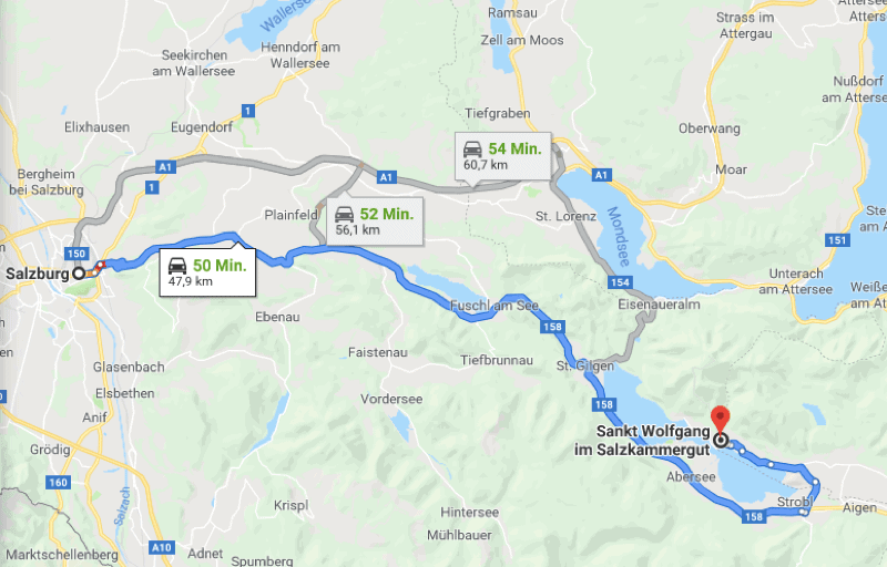 Map, Salzkammergut, St. Wolfgang, Salzburg